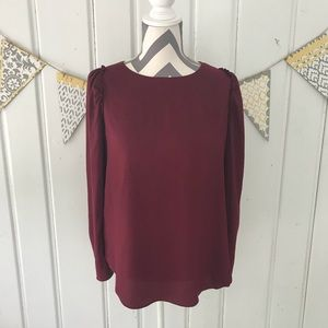 Ann Taylor Long Sleeve Wine Colored Blouse